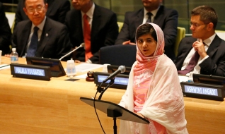 Yousafzai gives her first speech since the Taliban in Pakistan tried to kill her for advocating education for girls, at U.N. Headquarters in New York